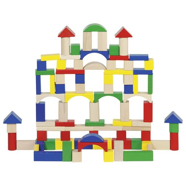 Набор деревянных кубиков в ведерке GOKI 100шт