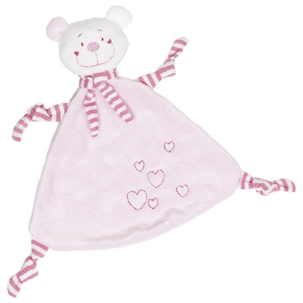 Игрушка салфетка Розовый мишка с сердечками GOKI