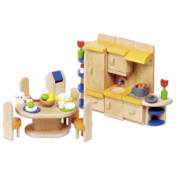 Мебель для кукольной кухни GOKI, 37 предметов