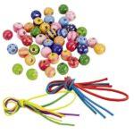 GOKI värvilised puupärlid - 3 paela, 44 pärlit