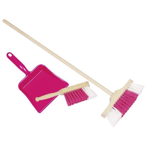 GOKI Pink Plastic Dustpan, Handbroom, and Broom