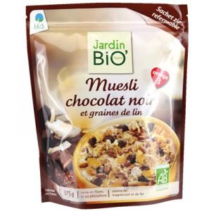JardinBio Muesli with Dark Chocolate and Flax Seeds 375g