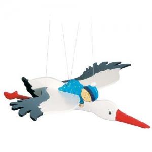 Подвесная игрушка Аист с младенцем GOKI