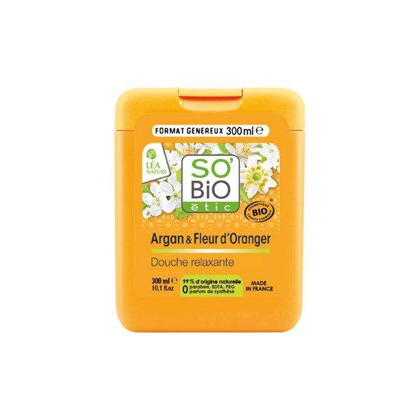 Крем для душа с аргановым маслом и цветками апельсина SO'BiO 300ml