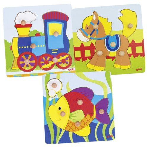 Пазл с держателями Поезд, лошадь или рыбка GOKI