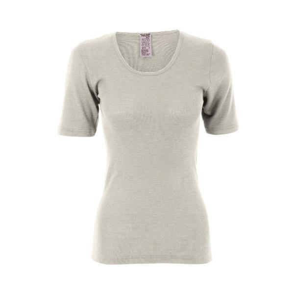 Living Crafts Women's Short-Sleeved Wool-Silk Shirt in White