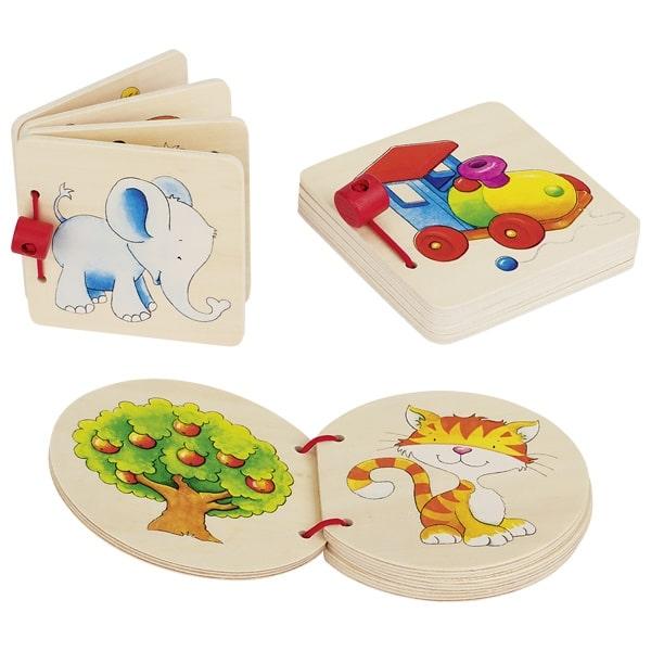 Деревянная книжка: слоненок, домик или паровозик GOKI 1шт