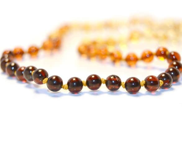 Rainbow Round Amber Beads Necklace in Cognac For Babies 32cm b14-2r