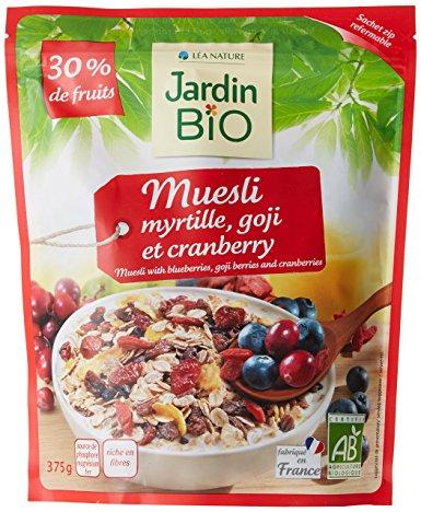 Мюсли с ягодами годжи, клюквой и черникой JardinBio 375g