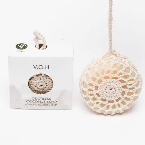 Кокосовое мыло в вязаном мешочке VOH 100g