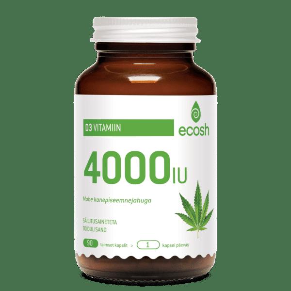 Витамин D3 с конопляной мукой Ecosh 4000 IU/капсула